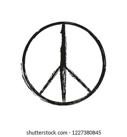 Grunge peace sign. Dirty peace symbol. Vector Illustration