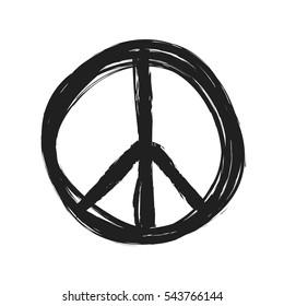 grunge peace symbol vector