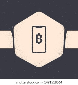Grunge Phone mobile and cryptocurrency coin Bitcoin icon isolated on grey background. Physical bit coin. Blockchain based secure crypto currency. Monochrome vintage drawing. Vector Illustration