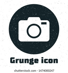 Grunge Photo camera icon isolated on white background. Foto camera icon.  Vector Illustration