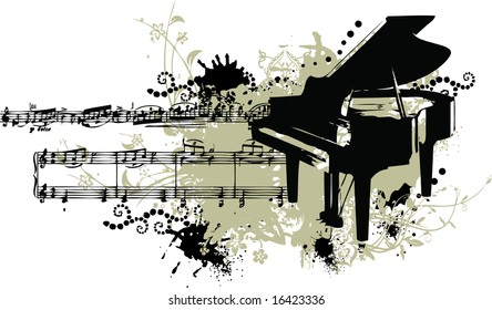 Grunge piano with note music and staff
