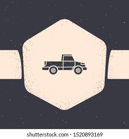 Grunge Pickup truck icon isolated on grey background. Monochrome vintage drawing. Vector Illustration