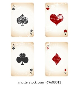 Grunge playing cards over white square background