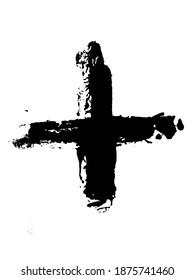 Grunge Plus Cross Sign Brush Stroke