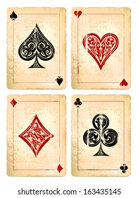 Grunge poker cards vector set. Vector illustration.