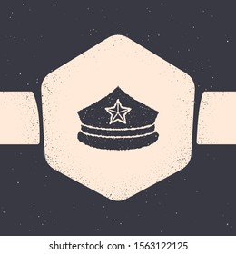 Grunge Police cap with cockade icon isolated on grey background. Police hat sign. Monochrome vintage drawing. Vector Illustration