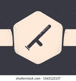 Grunge Police rubber baton icon isolated on grey background. Rubber truncheon. Police Bat. Police equipment. Monochrome vintage drawing. Vector Illustration