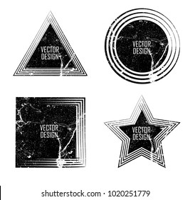Grunge post Stamps Collection, Circles. triangles, star , square . Banners, Insignias , Logos, Icons, Labels and Badges Set . vector distress textures.blank shapes.