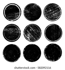 Grunge post stamps collection, circles. Banners, insignias , logos, icons, labels and badges set. Blank shapes. Vector illustration distress textures.