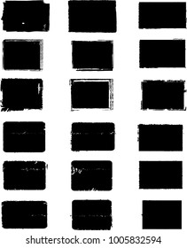 Grunge post Stamps Collection, rectangles . Banners, Insignias , Logos, Icons, Labels and Badges Set . vector distress textures. rectangular blank shapes.
