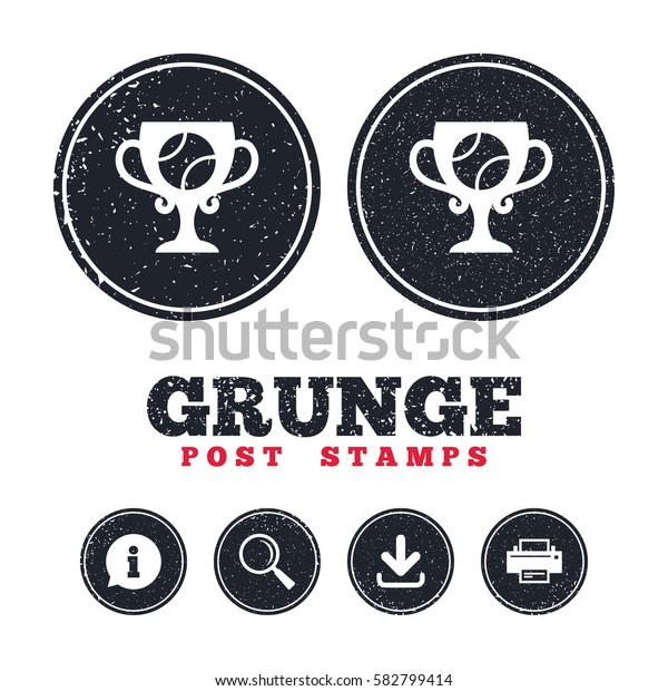 Grunge post stamps. Tennis ball sign icon. Sport symbol. Winner award cup. Information, download and printer signs. Aged texture web buttons. Vector