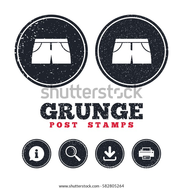 Grunge post stamps. Women's sport shorts sign icon. Clothing symbol. Information, download and printer signs. Aged texture web buttons. Vector