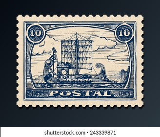 Grunge postage stamp with antique ship.  Bireme. Vector illustration.