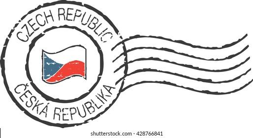 grunge postal stamp 'Czech republic'.Czech and english inscription. White background.