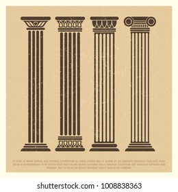 Grunge poster with ancient columns set on simple art style. Vector illustration