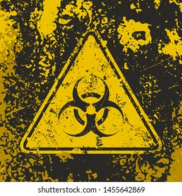 Grunge poster 'Biohazard'. Vector biohazard triangle sign on grunge background. Recognizable warning symbol. Vintage illustration in black yellow colors for your creative projects.
