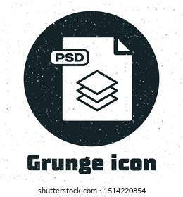 Grunge PSD file document. Download psd button icon isolated on white background. PSD file symbol.  Vector Illustration