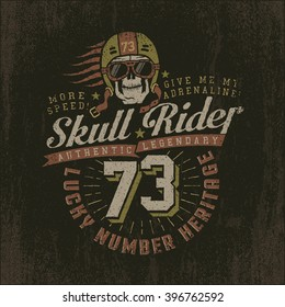 Grunge racing logo with a skull wearing a helmet and goggles. Vintage emblem with the number. Textures on separate layers and can be easily disabled.