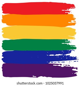 Grunge rainbow flag isolated on white background. Gay pride symbol. LGBT community symbol.