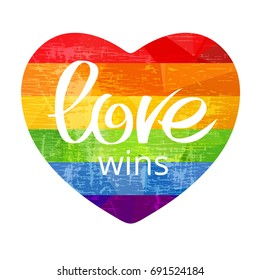 Grunge rainbow heart with Love Wins isolated on white background. Gay pride symbol. LGBT community symbol. Design element for greeting cards or etc.