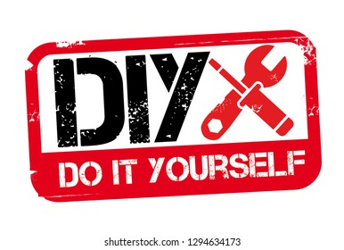 Grunge red and black DIY word (Abbreviation of Do it yourself) rubber  stamp on white background - Vector