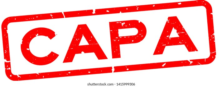 Grunge red CAPA (abbreviation of corrective action and preventive action) word squre rubber seal stamp on white background