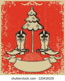 Grunge red christmas card with cowboy boots and fir-tree on old paper