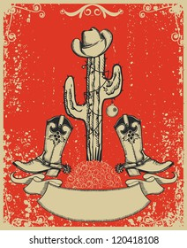 Grunge red christmas card with cowboy boots and cactus on old paper