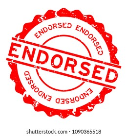 Grunge red endorsed round rubber seal stamp on white background