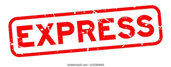 Grunge red express word square rubber seal stamp on white backgorund