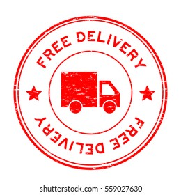 Grunge red free delivery with truck icon round rubber stamp