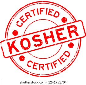 Grunge red kosher certified word round rubber seal stamp on white background