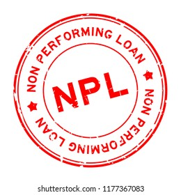Grunge red NPL word (abbreviation of non performing loan) round rubber seal stamp on white background