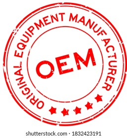 Grunge red OEM (Abbreviation of Original Equipment Manufacturer) word round rubber seal stamp on white background