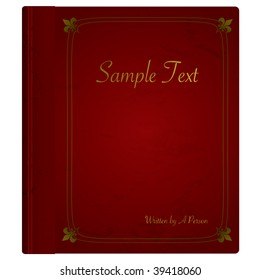 Grunge red old fashioned hard back book with gold trim