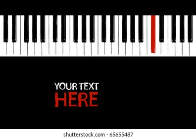 Grunge red piano key with copy space