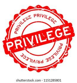 Grunge red privilege round rubber seal stamp on white background