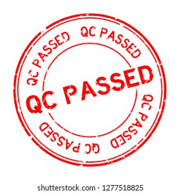 Grunge red QC passed word round rubber seal stamp on white background