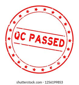 Grunge red QC (quality control) passed word with star icon round rubber seal stamp on white background