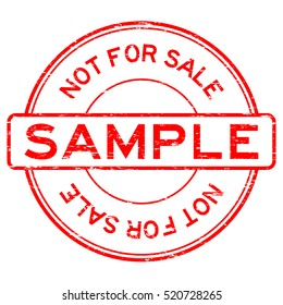 Grunge red round sample not for sale rubber stamp