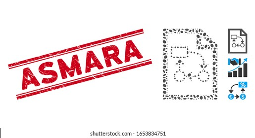Grunge red stamp watermark with Asmara caption between double parallel lines, and mosaic business plan icon. Mosaic vector is designed with business plan icon and with random oval items.