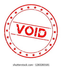 Grunge red void word with star icon round rubber seal stamp on white background