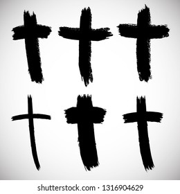 Grunge Religion Cross . Black Paint . Vector