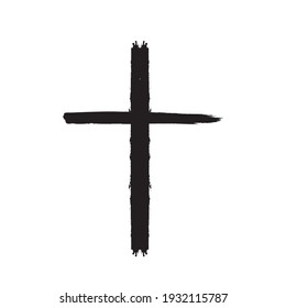 Grunge Religion Cross . Black Paint . Vector