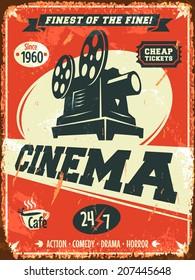 Grunge retro cinema poster. Vector illustration.