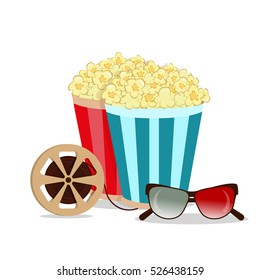 Grunge retro cinema poster. Vector popcorn bowl, disposable cup for drinks with straw, film strip and ticket. Cinema poster attributes. Detailed vector illustration cinema poster