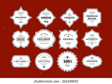 Grunge Retro Labels Set. Vintage Vector Design Elements for Packaging, Identity, Logos, Labels and Badges.