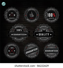 Grunge Retro Vintage Styled collection of  Premium Quality and Satisfaction Guaranteed labels  with wood vector background