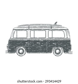 Grunge, retro, vintage, travel, camper van, with surf board, isolated on white background. Vector illustration.