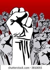 Grunge revolution - crowd of fists; slight pseudo paint-stroke stencil effect